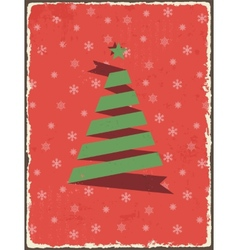 Christmas vintage card with ribbon tree vector image
