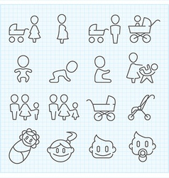 Motherhood and childhood thin line icons set vector