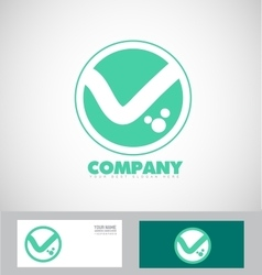 Flat letter v logo green abstract icon set vector