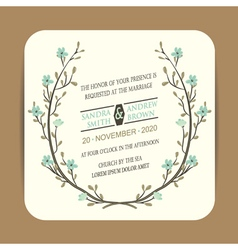 Wedding card with floral branch vector