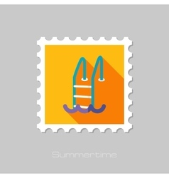 Swimming pool flat stamp with long shadow vector