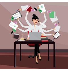 Busy business woman vector