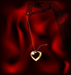 hand and pendant heart vector image