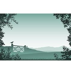 Landscape with Farm Gate vector image