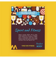 Sport and fitness template banner flyer modern vector