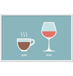 Cup coffee and glass wine in cafe with symbol vector