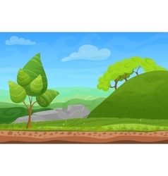 Cartoon color nature spring summer landscape in vector