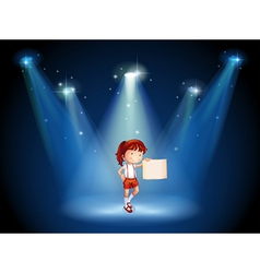 A stage with a girl holding an empty signage in vector image vector image