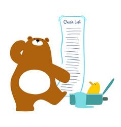 bear checklist backpacking for traveler vector image