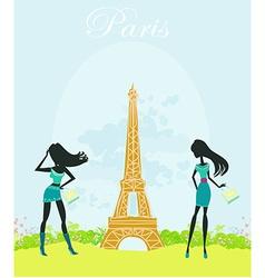 Beautiful fasihon girls silhouettes shopping in vector
