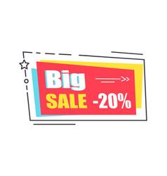 big sale promo sticker in square shape frame 20 vector image