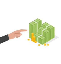 businessman hand points a stack of green dollars vector image