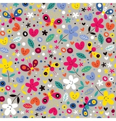 Butterflies hearts and flowers pattern vector