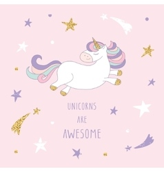 Cartoon unicorn on the starry sky with glitter vector image vector image