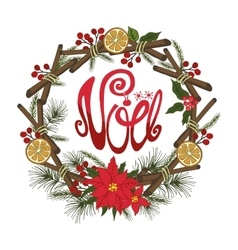 Christmasnoel greeting cardFlower fircitrus vector image