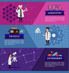 Colorful science horizontal banners vector