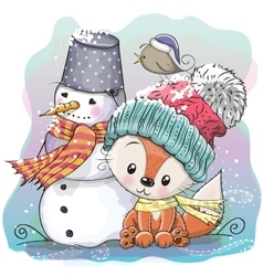 Cute Fox and snowman vector image vector image