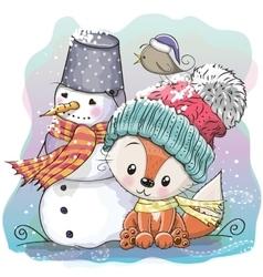 Cute fox and snowman vector