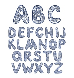 Doodle hand drawn funny alphabet vector image vector image