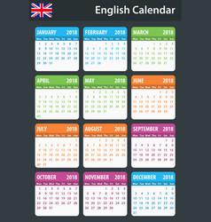 English calendar for 2018 scheduler agenda or vector
