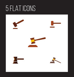 Flat icon court set of court government building vector