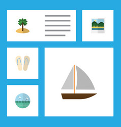Flat icon summer set of beach sandals coconut vector