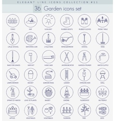 garden outline icon set Elegant thin line vector image