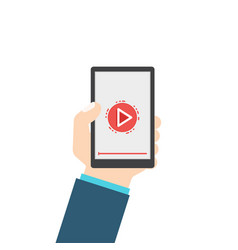 Hand hold video player vector