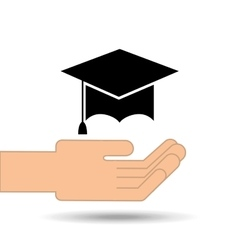Hand holding hat graduation design vector