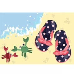 Kids summer flip flops on the beach vector image