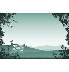 Landscape with Farm Gate vector image