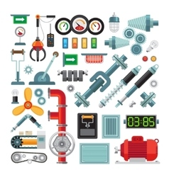 Machinery flat icons vector