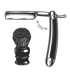 Monochrome of straight razor and vector image vector image