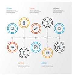 Multimedia outline icons set collection of screen vector