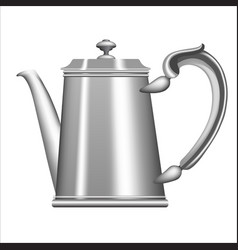 old metallic teapot isolated on white background vector image vector image
