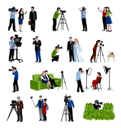 Photographer And Videographer Icons Set vector image vector image
