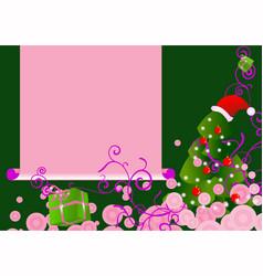 Pink chrstmas tree card vector