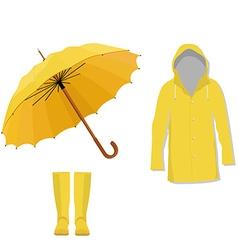Raincoat boots umbrella vector image vector image