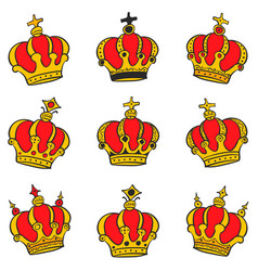 Red crown style collection doodles vector
