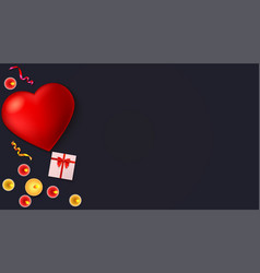 Romantic background big red heart burning vector