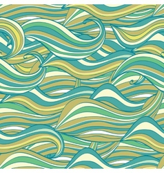 Seamless wave hand-drawn pattern waves background vector image vector image