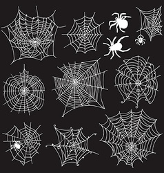 Set of 10 different spiderwebs and spiders on vector image vector image