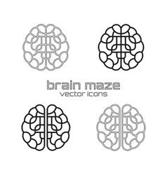 Set of brain maze icons vector