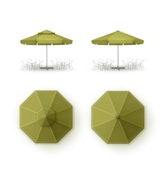 Set of Green Patio Outdoor Beach Cafe Umbrella vector image