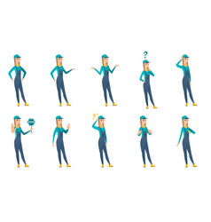 Set of mechanic characters vector