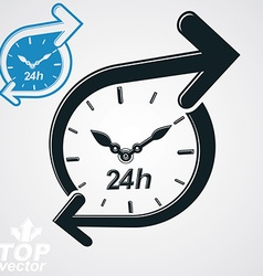 Simple 24 hours detailed clock monochrome a vector