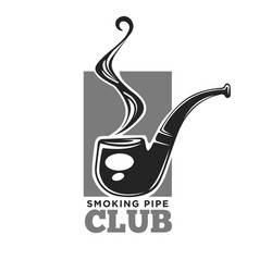 Smoking club colorless logo label with pipe vector