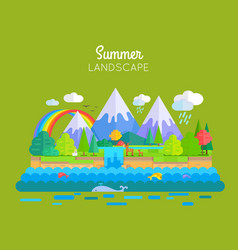 summer landscape concept in flat design vector image