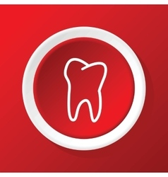 Tooth icon on red vector