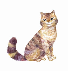 Watercolor cute cat vector